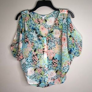 Gorgeous Sheer Floral Peek-a-boo Shoulder Top